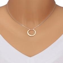 Srebrny naszyjnik 925 - kwadratowy łańcuszek, koło różowo-złotego koloru z wycięciem i napisem