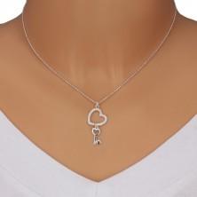 Naszyjnik ze srebra 925 - łańcuszek wojskowy, zarys serca z cyrkoniami, klucz w kształcie serca