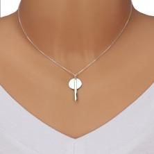 Srebrny 925 naszyjnik - lśniący łańcuszek, lśniące kółko z prostokątem