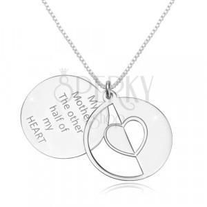 Naszyjnik ze srebra 925 - kwadratowy łańcuszek, płaskie kręgi, serce i napis