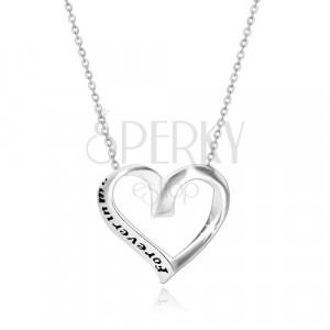 """Srebrny 925 naszyjnik - wstążka zwinięta w serce, """"Forever in my heart"""""""