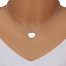 """Srebrny naszyjnik 925 - symetryczne serce, mniszek lekarski na wietrze, napis """"Mom"""""""
