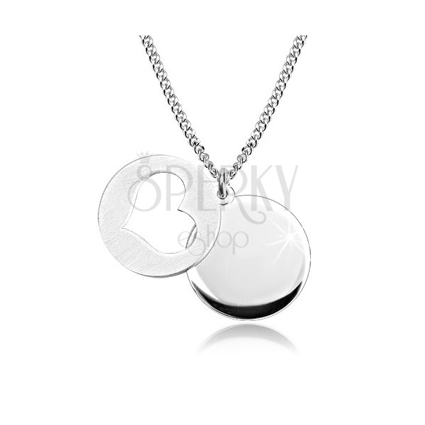 Srebrny 925 naszyjnik - lśniące kółko, matowe kółko z wycięciem w kształcie serca