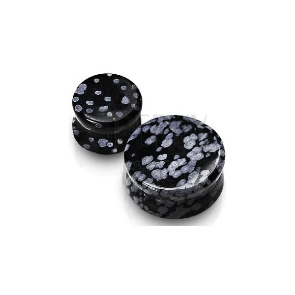 Plug do ucha - Obsydian, kamień półszlachetny czarnego koloru, marmurkowy