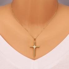 Srebrna przywieszka 925 - krzyż w kolorze złotym, mniejszy krzyżyk w środku, wycięcia w kształcie ziarnka