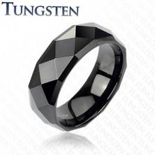 Czarny tungsten pierścionek - z oszlifowanymi rombami, 6 mm