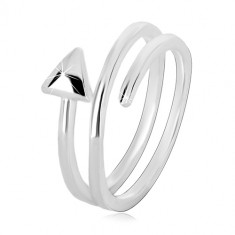 Pierścionek ze srebra 925 - zakręcona spirala zakończona trójkątem, błyszcząca powierzchnia
