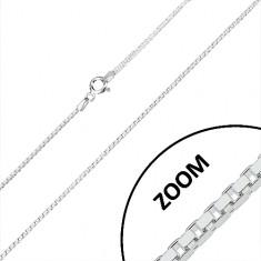 Srebrny łańcuszek 925 - błyszczące kwadratowe elementy, przekrój kwadratowy, 1,2 mm