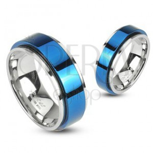 Pierścionek ze stali obrotowy - niebieski