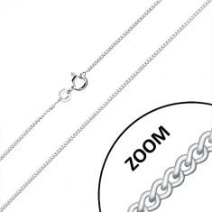 Srebrny 925 łańcuszek - skręcone owalne oczka, połączone w całośc, 1,3 mm