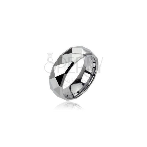 Wolframowa obrączka srebrnego koloru ze wzorem małych rombów, 8 mm
