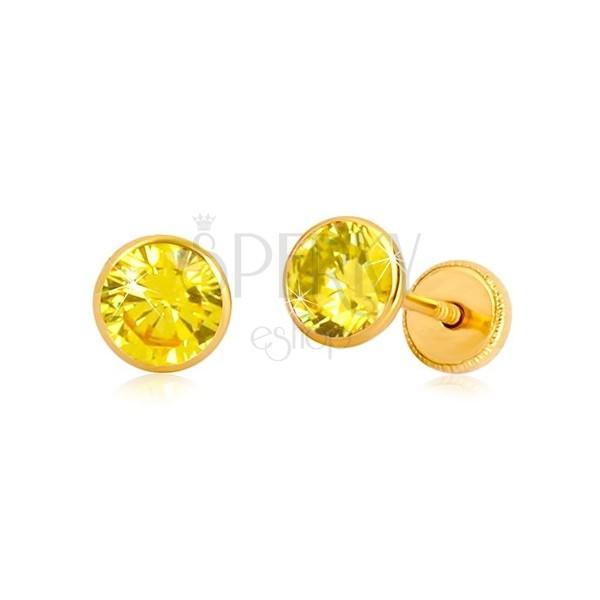 Kolczyki z 14K żółtego złota - żółta cyrkonia w oprawie, wkrętka z gwintem, 5 mm