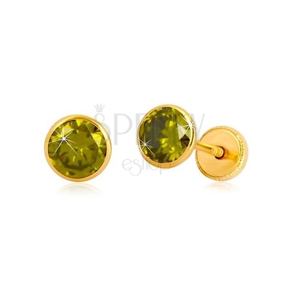Złote kolczyki 585 - okrągła cyrkonia zielonego koloru,  wkrętka z gwintem, 5 mm