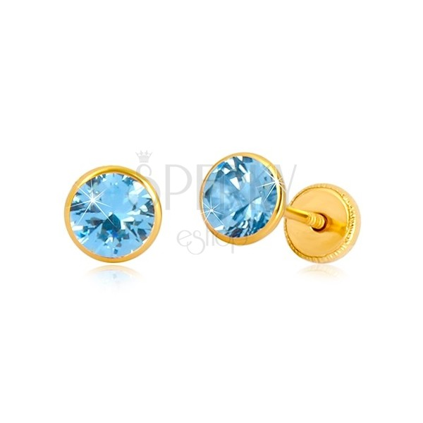 Kolczyki z żółtego 14K złota - niebieska cyrkonia w oprawie, wkrętka z gwintem, 5 mm