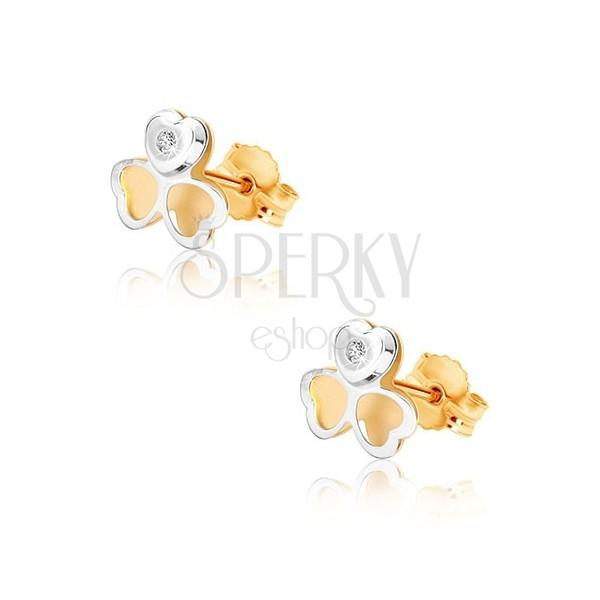 Kolczyki z połączonego złota 375 - dwukolorowa koniczyna, mała cyrkonia