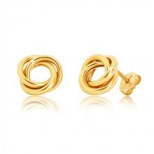Kolczyki sztyfty z żółtego złota 375 - trzy błyszczące splecione pierścienie