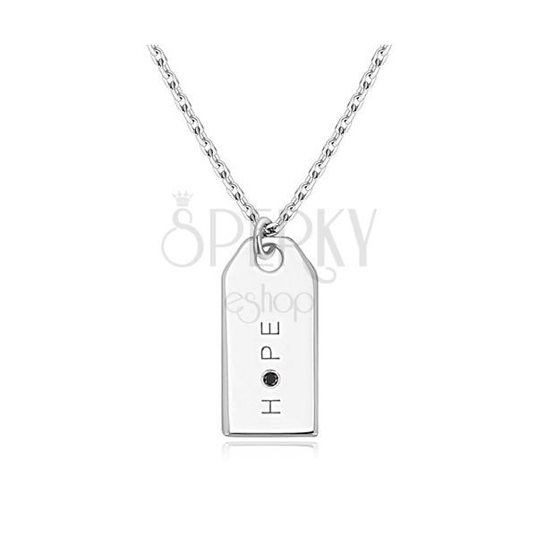 """Czarny diament - naszyjnik ze srebra 925, lustrzano lśniąca płytka, napis """"HOPE"""""""