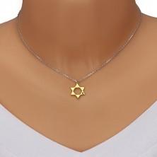 Srebrny 925 naszyjnik - Gwiazda Dawida w złotym odcieniu, czarny diament