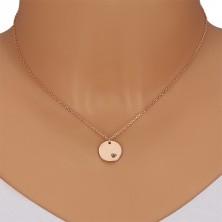 Srebrny naszyjnik 925 - okrągła płytka, czarny diament w wycięciu w kształcie serca