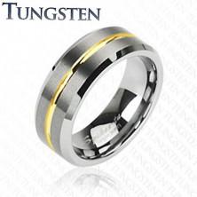 Tungsten pierścionek z paskiem w złotym kolorze, 8 mm