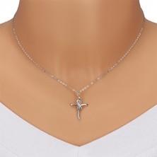 Srebrny naszyjnik 925 - błyszczący krzyż z symbolem nieskończoności, przezroczyste diamenty