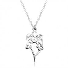 Srebrny naszyjnik 925 - rzeźbiony anioł, serce z przezroczystym diamentem