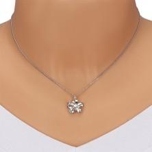 Srebrny naszyjnik 925 - błyszcząca wstążka, kwiat z pięcioma płatkami i brylantem