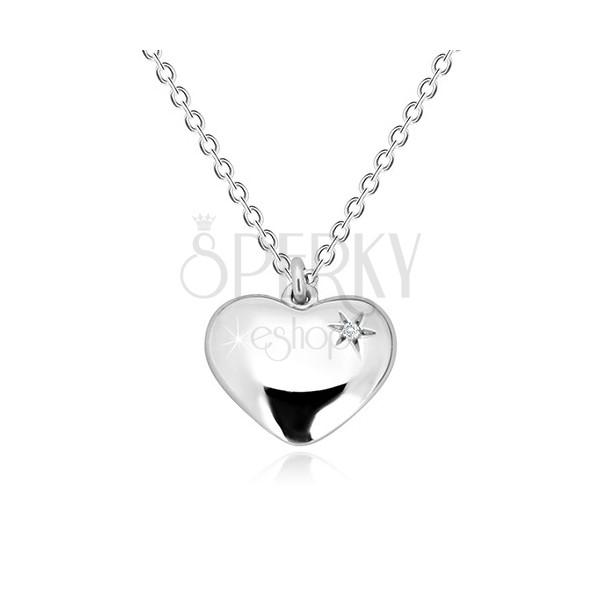 Naszyjnik ze srebra 925 - lustrzano lśniące serce z gwiazdą i diamentem