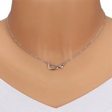Srebrny 925 naszyjnik - lśniący łańcuszek, symbol nieskończoności z brylantami