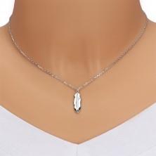 Srebrny naszyjnik 925 - lśniące piórko z przezroczystym okrągłym brylantem, lśniący łańcuszek