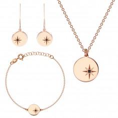 Srebrny potrójny komplet 925 różowo-złoty kolor - Gwiazda Północna, czarny diament