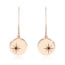 Srebrny 925 zestaw, różowo-złoty kolor - bransoletka i kolczyki, kółko z Gwiazdą Polarną, czarny diament