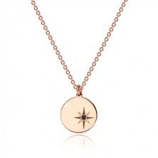 Srebrny 925 naszyjnik w różowo-złotym kolorze - lśniące kółko, gwiazda północna, czarny diament