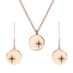 Srebrny komplet 925 różowo-złoty kolor - naszyjnik i kolczyki, koło z Gwiazdą Polarną, czarny diament