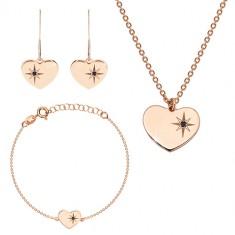 Zestaw różowo-złotego koloru, srebro 925 - lśniące serce, gwiazda północna, czarny diament