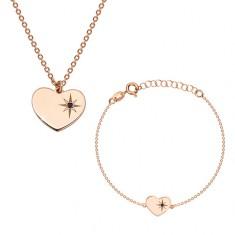 Srebrny 925 komplet różowo-złotego koloru - bransoletka i naszyjnik, serce z gwiazdą polarną i diamentem