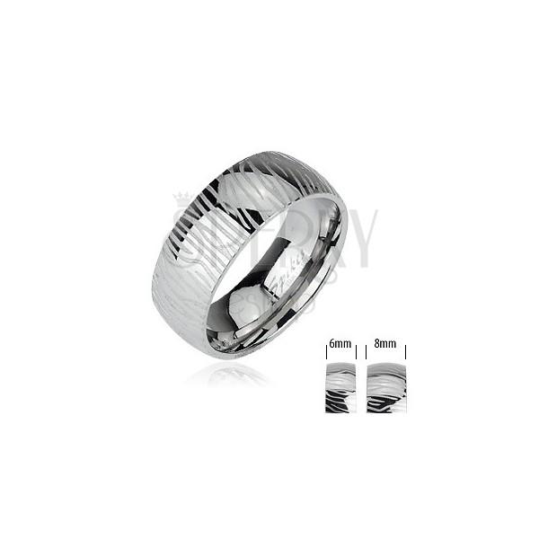 Stalowy pierścionek - wzór zebra