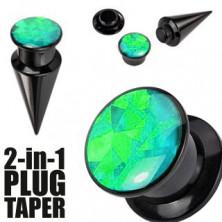 Expander i plug w czarnym odcieniu - czarna i zielona śrubka