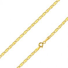 Łańcuszek z 14K złota - owalne oczka z wycięciami i gładkim prostokącikiem, 500 mm