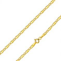Złoty14K łańcuszek - owalne oczka, podłużne oczka z prostokącikiem, 550 mm