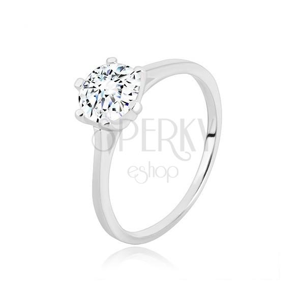 Pierścionek zaręczynowy ze srebra 925 - wąskie ramiona, trójkąty i cyrkonia, 7 mm