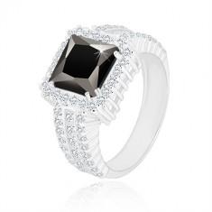 Srebrny pierścionek 925 - czarny cyrkoniowy kwadrat, przezroczysty cyrkoniowy brzeg i ramiona