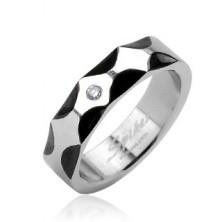 Stalowy pierścień - wzór fale, cyrkonia centralna