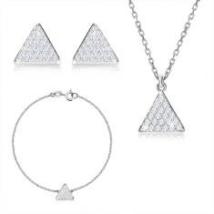 Trzyczęściowy zestaw, srebro 925 - trójkąt równoboczny z cyrkoniami, łańcuszek