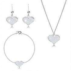 Srebrny 925 zestaw - symetryczne serce z cyrkoniami, szeregowo połączony łańcuszek