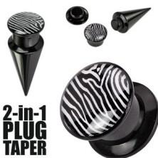 Plug i taper - czarny, zebra