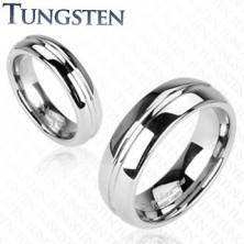 Tungsten obrączka - pierścionek z rowkiem na środku