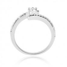 Srebrny pierścionek 925 - błyszczące zakrzywione ramiona, przezroczysta okrągła cyrkonia w koszyczku