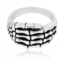 Pierścionek ze srebra 925 - szczegółowy kształt szkieletu dłoni, błyszczące ramiona, patyna