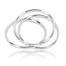 Potrójny pierścionek ze srebra 925 - wąskie połączone pierścienie o błyszczącej powierzchni